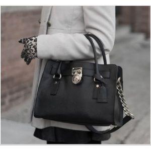 Michael Kors Hamilton Bl Leather Satchel Handbag